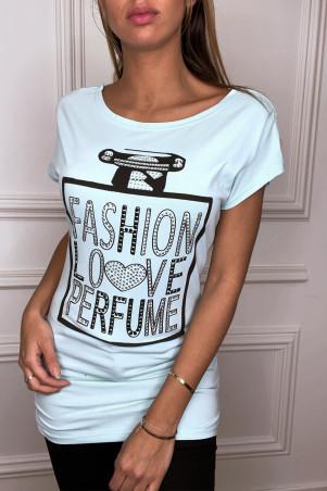 Grijs T-shirt met inscripties en strass steentjes