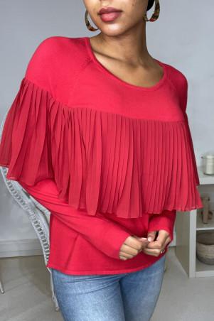 Pull rouge bi matière à volant plissé