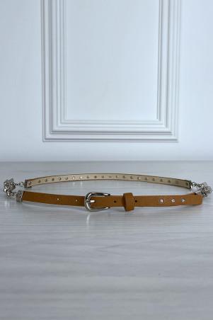 Fine ceinture camel avec accessoire et strass