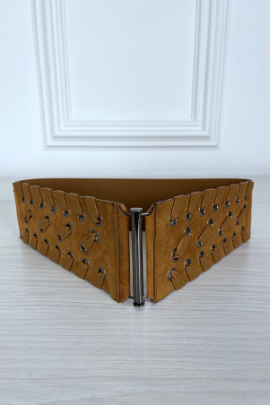 Camel belt in braided suede with elastic at the back