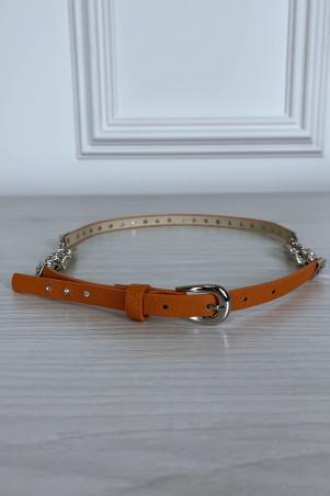 Dunne oranje riem met accessoire en strass steentjes