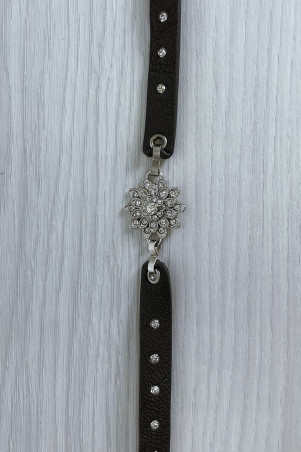 Brown belt with oak and rhinestone butterfly accessory