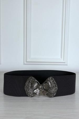 Ceinture élastique noir avec boucle papillon en strass