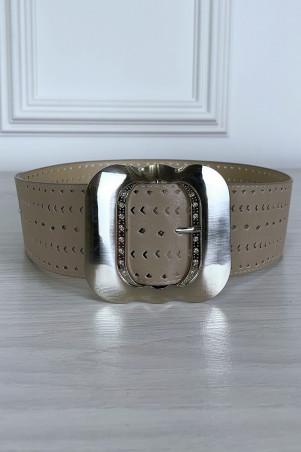 Grosse ceinture taupe à motif avec boucle argenté
