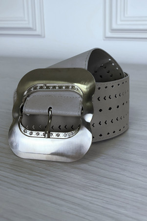 Large gray patterned belt with silver buckle