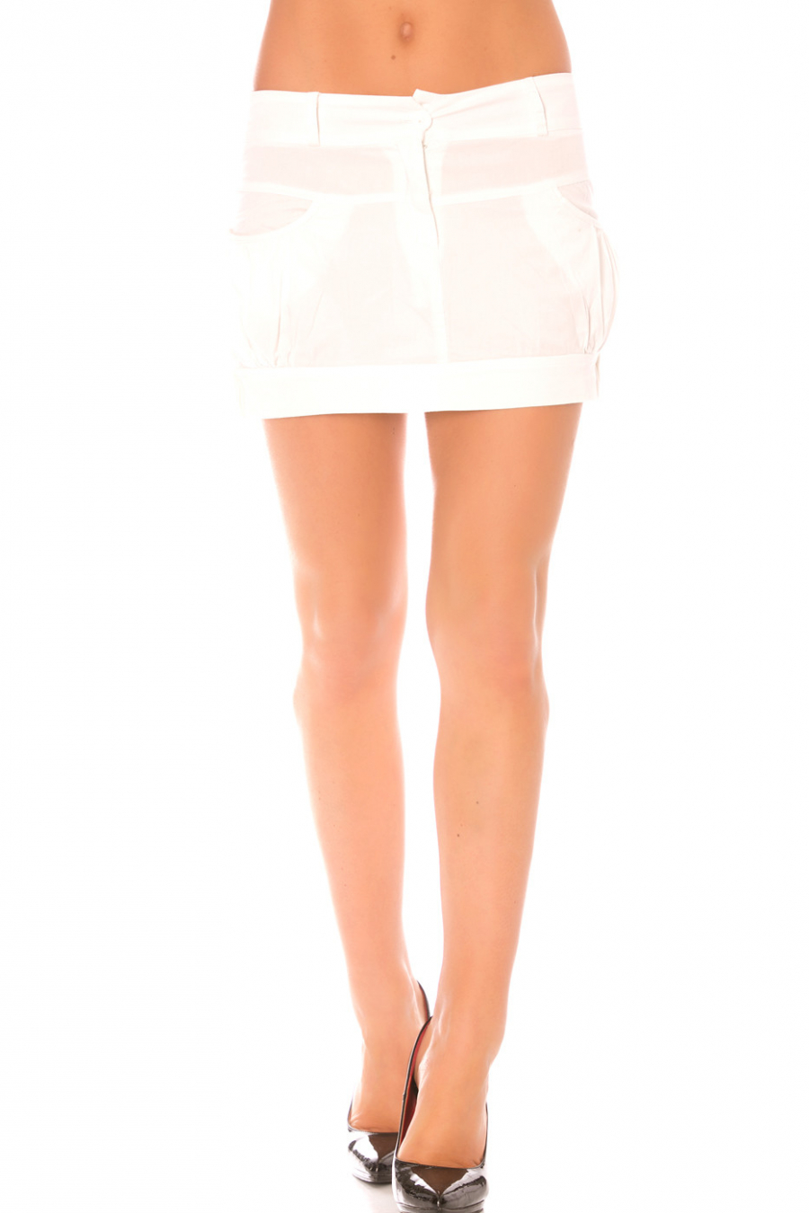 Jupe Blanche courte à poches. Jupe