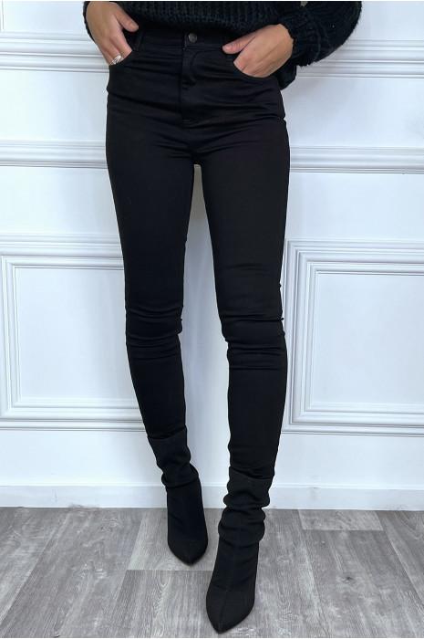 Jean slim noir taille haute avec poches