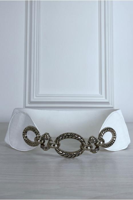 Ceinture blanche avec 3 anneaux et élastique