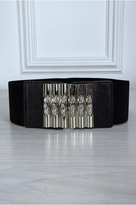 Ceinture noir avec boucle à crochet et élastique à la taille