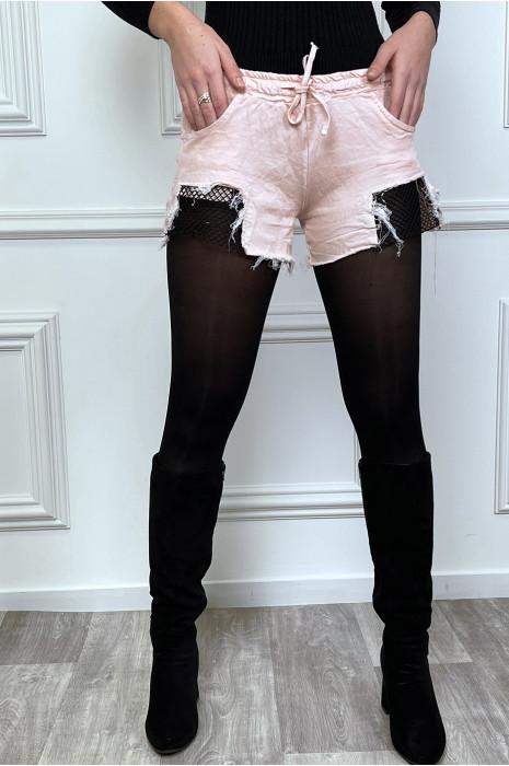 Mini short en coton stretch avec empiècement résille