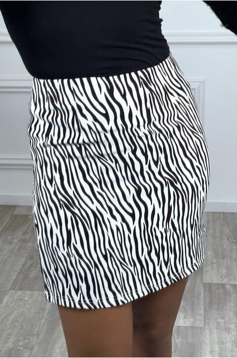 Mini jupe droite zebré blanche
