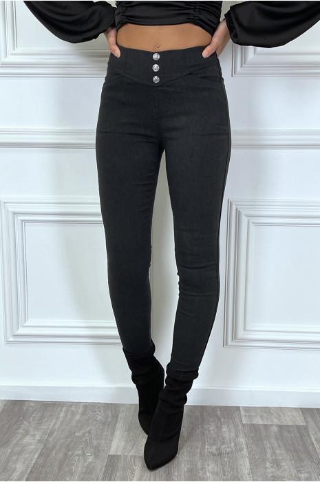 Pantalon slim noir avec 3 boutons et poches