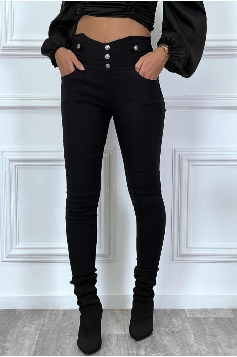 Pantalon slim noir taille haute avec boutons et poches
