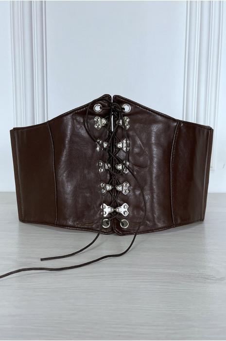 Ceinture marron style corset à lacet à l'avant et pression au dos