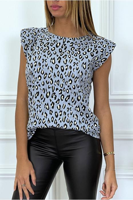 Top bleu à épaulettes motif léopard
