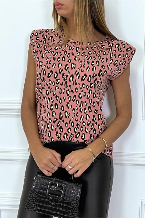 Top taupe à épaulettes motif léopard
