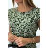 Top kaki à épaulettes motif léopard