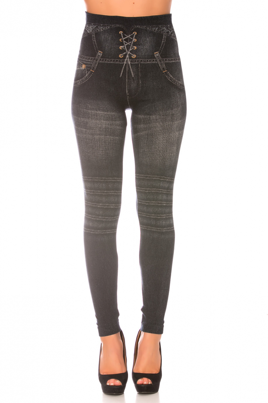 Zwarte slankmakende legging in jeansstijl met hoge taille en gekruiste schakels. Opdrukeffect