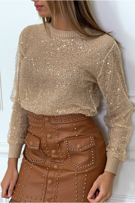 Small ribbed pink sweater lined with sequin tulle