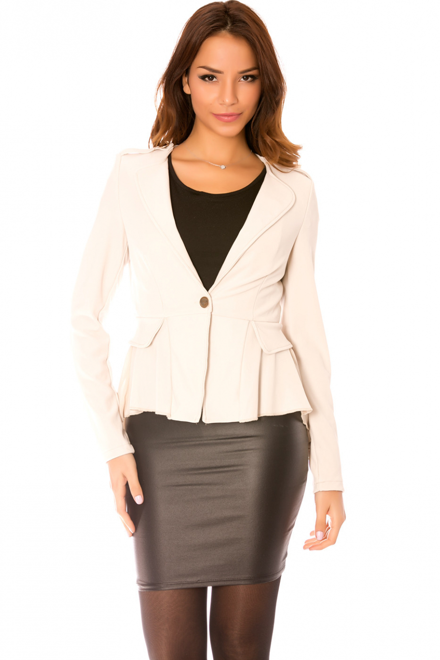 Beige blazer jacket with bow at the back and flared veil at the bottom.