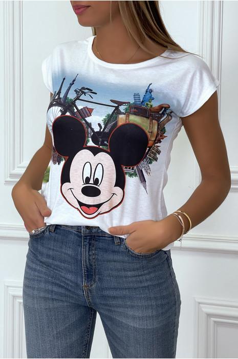 Tee-shirt blanc à dessins tete de souris 3D