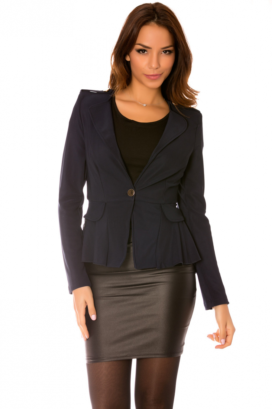 Black blazer jacket with bow at the back and flared veil at the bottom.
