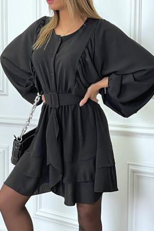Robe chemise noire avec volant et manches large