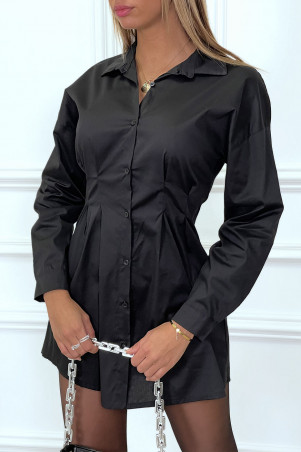 Black fitted cotton shirt dress with pleats at the waist