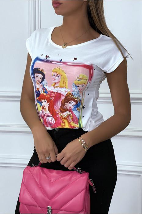 T-shirt blanc à motif personnage dessin animé et fleurs