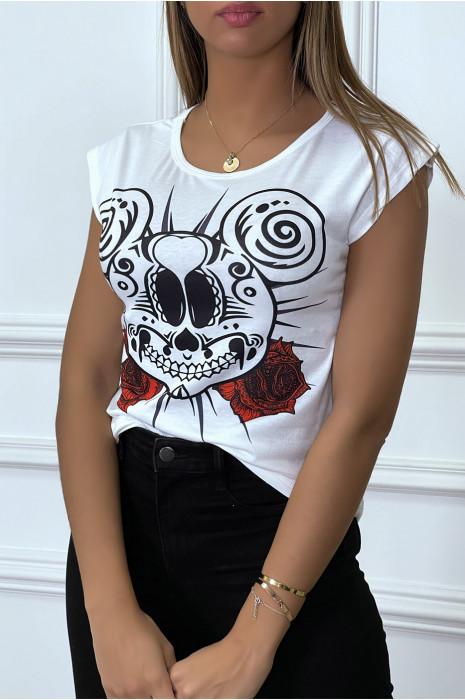 T-shirt blanc à motif souris squelette et rose rouge
