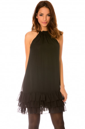 Black sleeveless dress, thin straps with wavy bottom and lining. 925