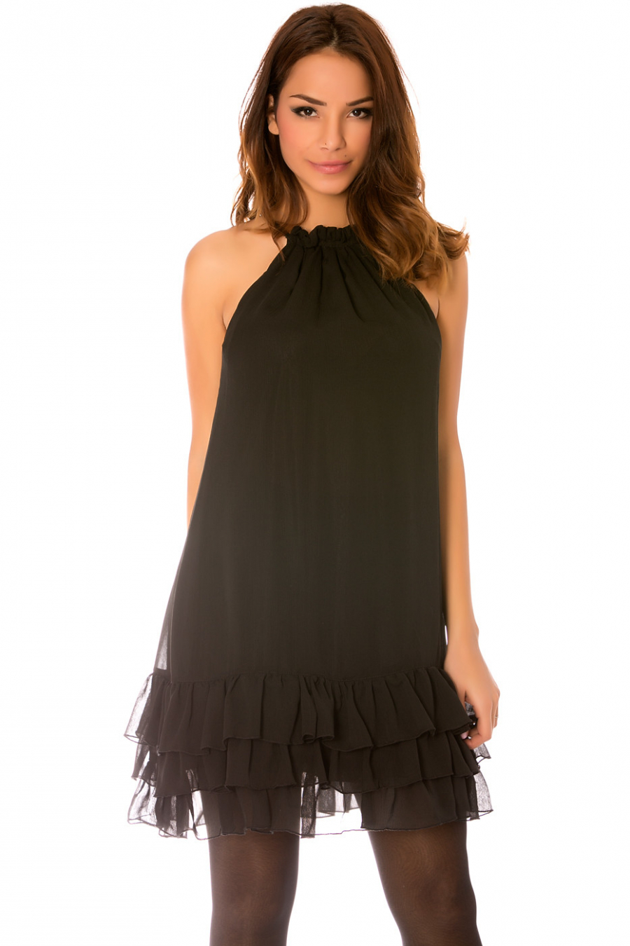 Zwarte mouwloze jurk, dunne bandjes met golvende onderkant en voering. 925