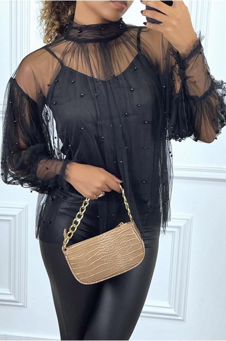 Blouse noire en tulle transparent perlé à col haut