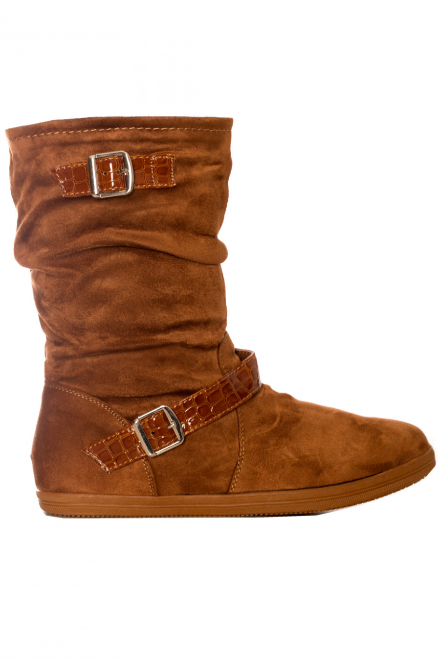Camel imitation suede boot with buckle. EL511-1