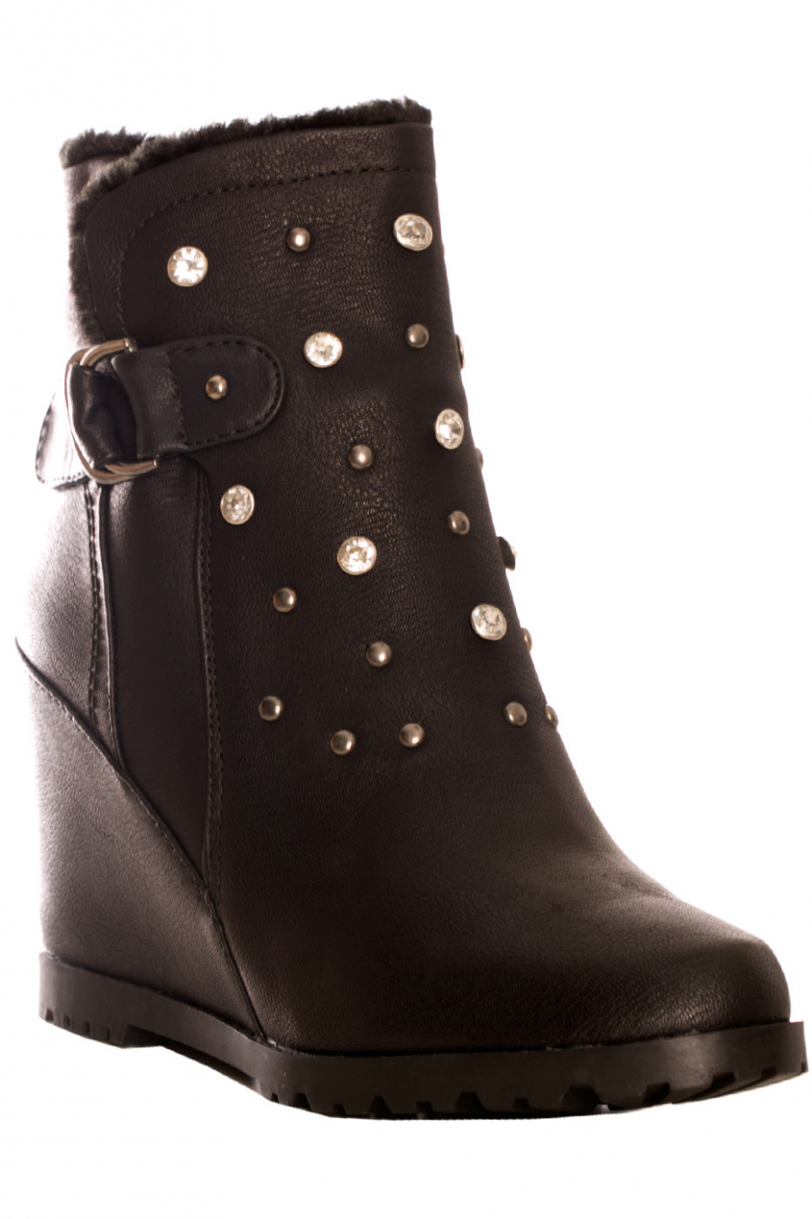 Black ankle boots with wedge heel with rhinestones on the front. EL027