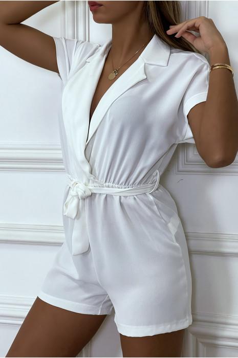 Combi-short bleu col blazer avec ceinture