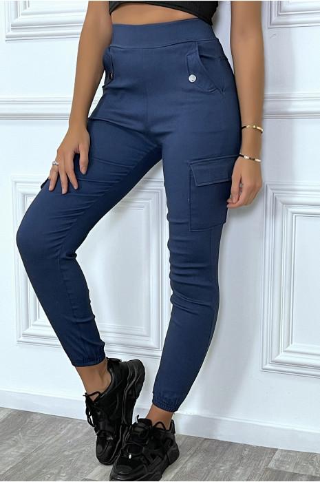 Pantalon cargo marine en strech avec poches