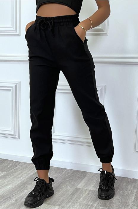Pantalon jogging noir avec poches en strech
