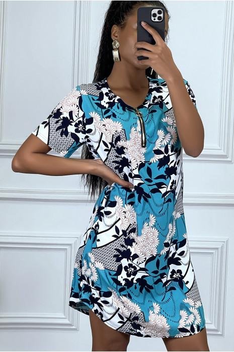 Robe tunique bleu fleuri à zip et manches courtes