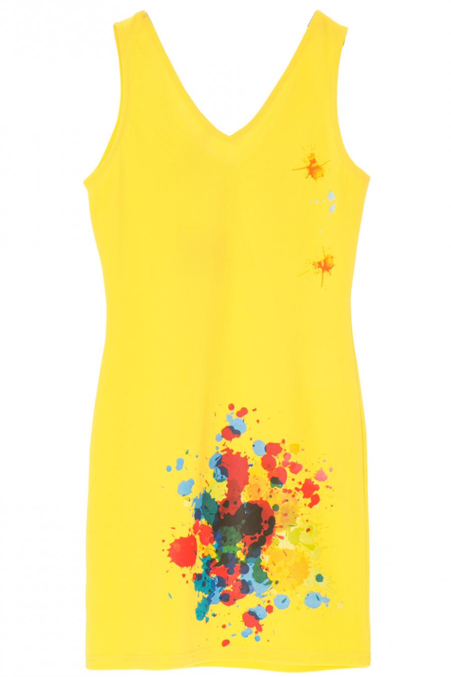 Robe d'été jaune avec motif tache de peinture très mode. f-6172