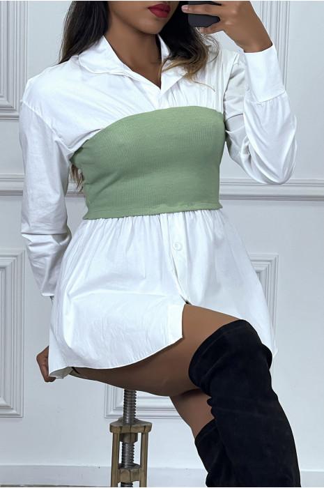 White shirt and gray corset set