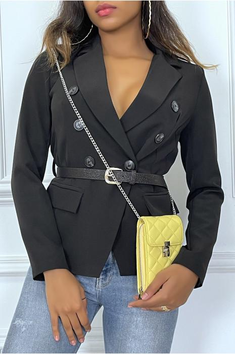 Blazer noir col revers à ceinture brillante
