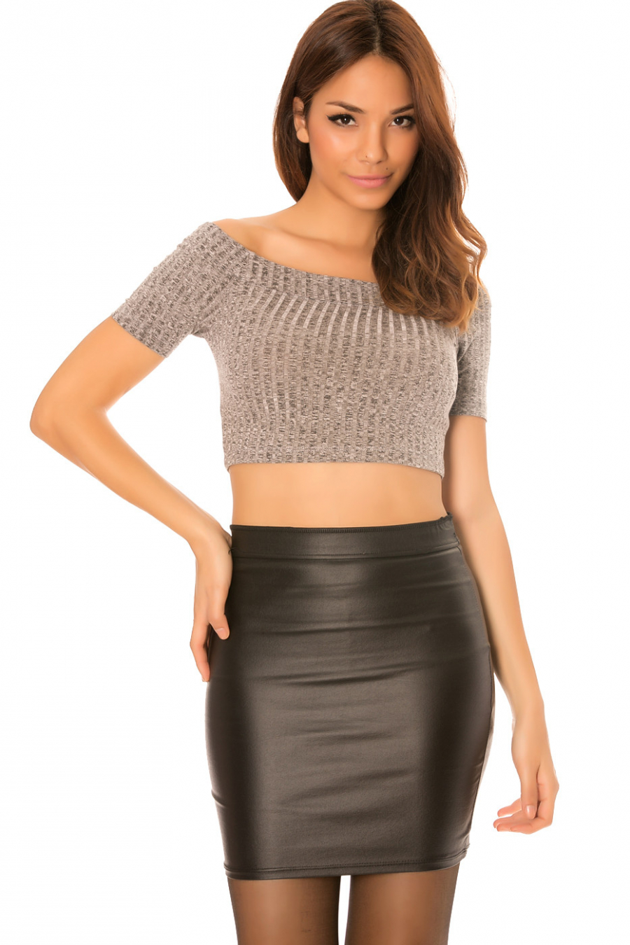 Gray croc top with boat neck. MC3653