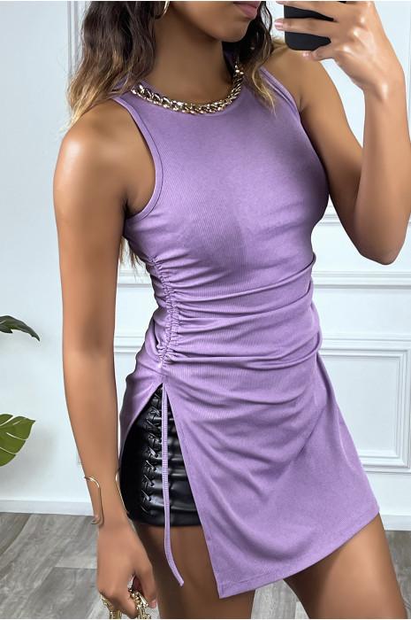 Top débardeur violet côtelé à col rond à chaine