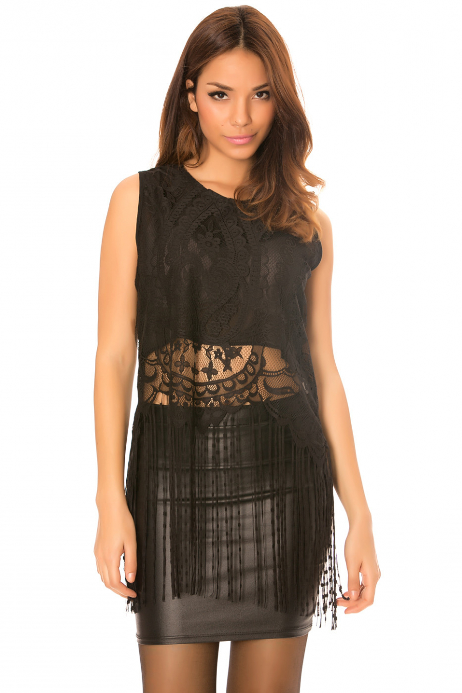 Black lace top with long fringes. C-267