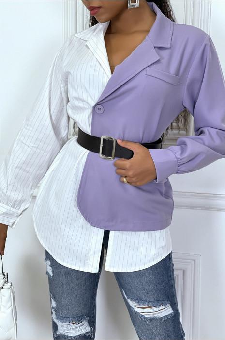 Blazer chemise 2 en 1 lila et blanc avec ceinture
