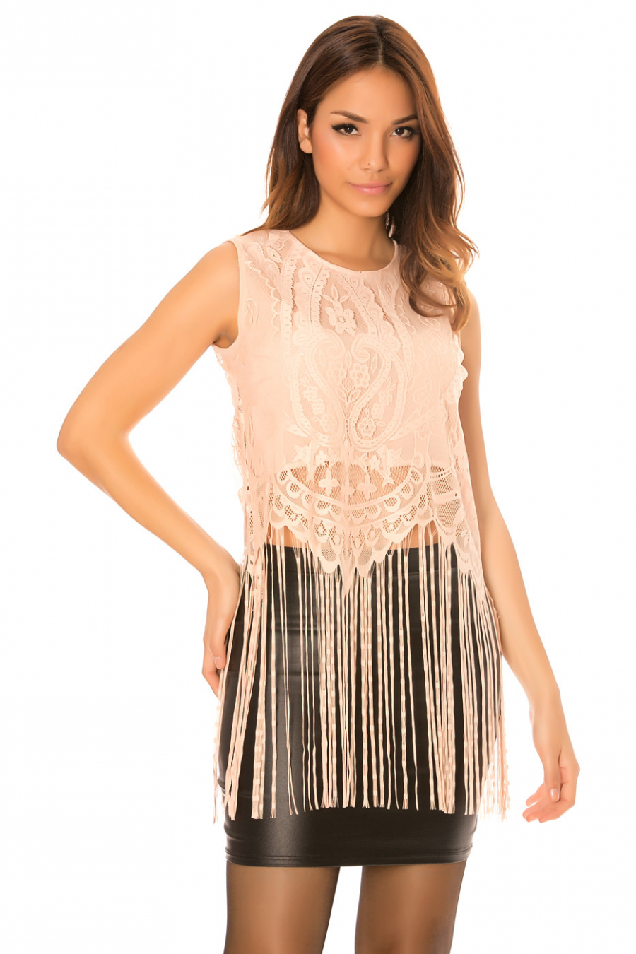 Pink lace top with long fringes. C-267