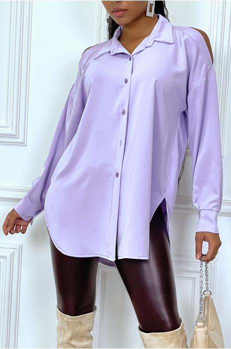 Chemise lilas asymétrique à épaules dénudées