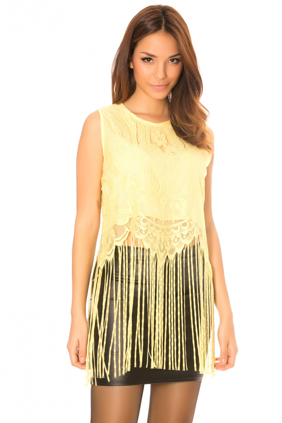 Yellow lace top with long fringes. C-267