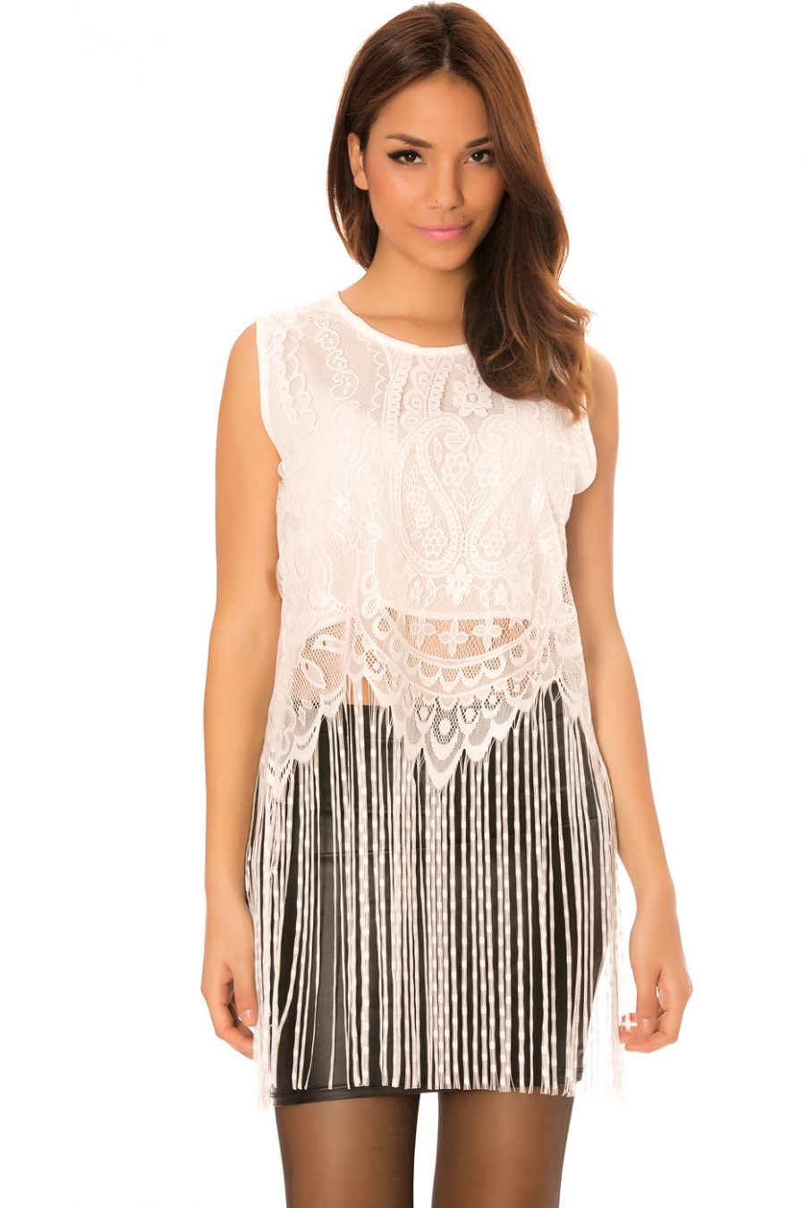 White lace top with long fringes. C-267